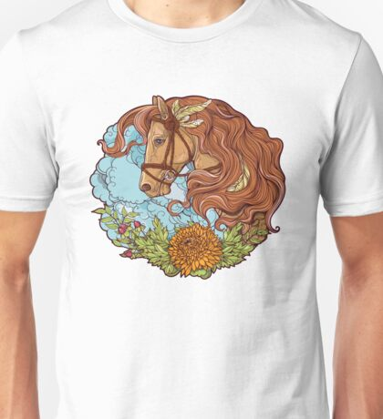 Colorful portrait of a horse with clouds and flowers. Unisex T-Shirt