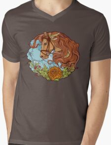 Colorful portrait of a horse with clouds and flowers. Mens V-Neck T-Shirt