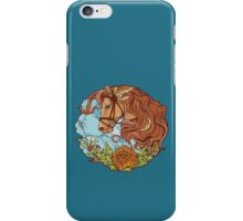 Colorful portrait of a horse with clouds and flowers. iPhone Case/Skin