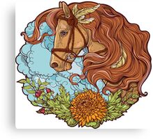 Colorful portrait of a horse with clouds and flowers. Canvas Print