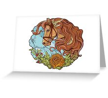 Colorful portrait of a horse with clouds and flowers. Greeting Card
