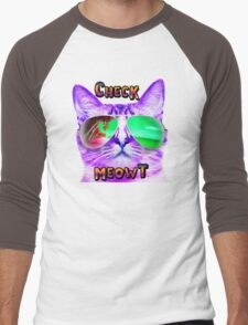 CAT WEARING SUNGLASSES CHECK MEOWT CATS BEACH TROPICAL GRUMPY OCEAN MEOW KITTEN KITTY SUN GLASSES Men's Baseball ¾ T-Shirt