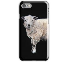 Vintage-style painted Sheep on black iPhone Case/Skin