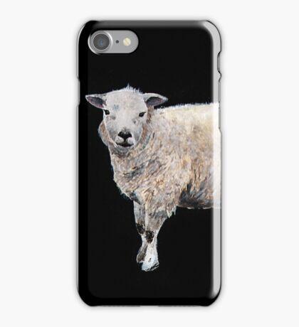 Vintage-style painted Sheep on black iPhone Case/Skin