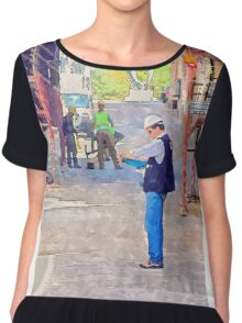 L'Aquila: buildings with scaffoldings and workers Women's Chiffon Top