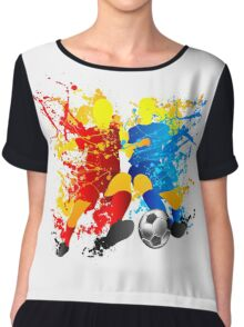 Football players splash with a soccer ball Chiffon Top