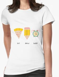 Eat, Draw, Sleep Womens Fitted T-Shirt