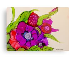 """""""Thanks for the Flowers"""" - Colorful Unique Original Artist's Floral Painting! Metal Print"""