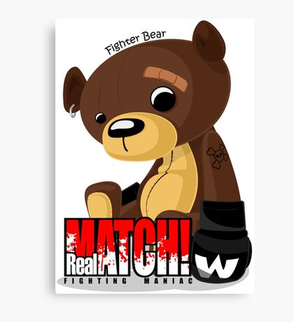 Fighter Bear Tedy Doll can Fight MMA Bear Fighter Shirt Mix Martial Art Canvas Print