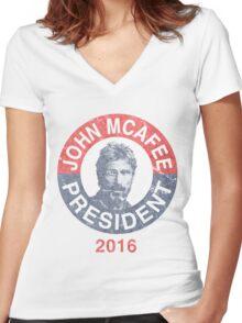 Vintage John McAfee for President 2016 Women's Fitted V-Neck T-Shirt