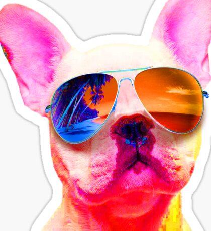 FRENCH BULLDOG DOG WEARING SUNGLASSES COLORFUL PUPPY RAINBOW Sticker