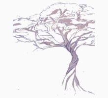 Quiet Acacia Zen Tree , Earthy African Bonsai Peace Lavendar Purple Baby Tee