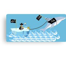 Pirate penguin and shark Canvas Print