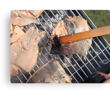 Fresh pork meat with vegetables Canvas Print