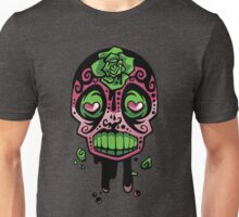 Pink and Green Rose-Ink Skull Unisex T-Shirt