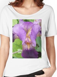 Close Up- Purple Iris Women's Relaxed Fit T-Shirt