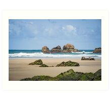 Rocks at the sand beach Art Print