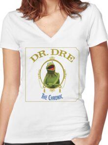 Kermit the chronic Women's Fitted V-Neck T-Shirt