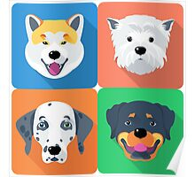 dog icon flat design  Poster