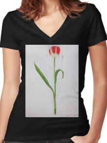 Tulip under protection glass Women's Fitted V-Neck T-Shirt