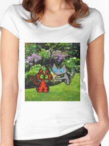 Cats In The Garden Women's Fitted Scoop T-Shirt