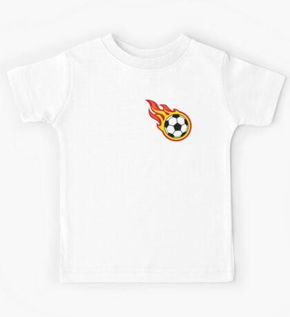 Soccer Ball On Fire Kids Tee