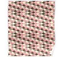 Strawberry Mouse Fish Scale Pattern Poster
