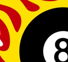 Eight Ball On Fire Sticker
