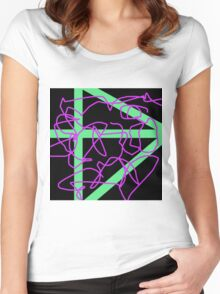 Abstract Black Green Violet Women's Fitted Scoop T-Shirt