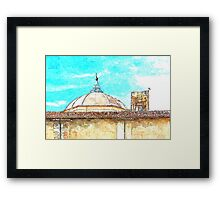 L'Aquila: dome with collapsed bell tower Framed Print