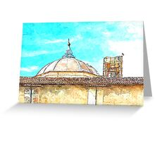 L'Aquila: dome with collapsed bell tower Greeting Card