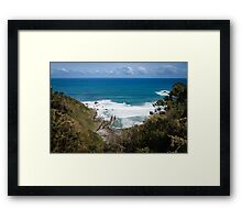 Panoramic view of the cliffs, waves and coastline Framed Print