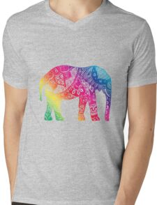 Rainbow Elephant Mens V-Neck T-Shirt