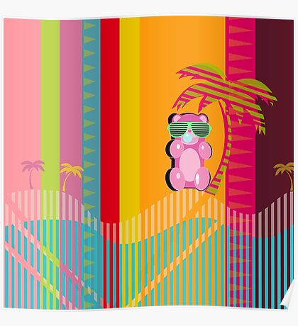 Throwback Beach Gummy Bear Poster