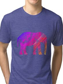 Pink and Orange Elephant Tri-blend T-Shirt