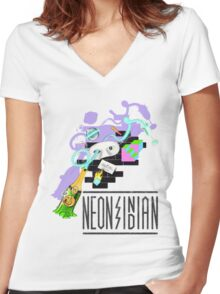 Neon Indian  Women's Fitted V-Neck T-Shirt