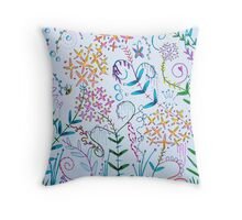 scribble garden party Throw Pillow