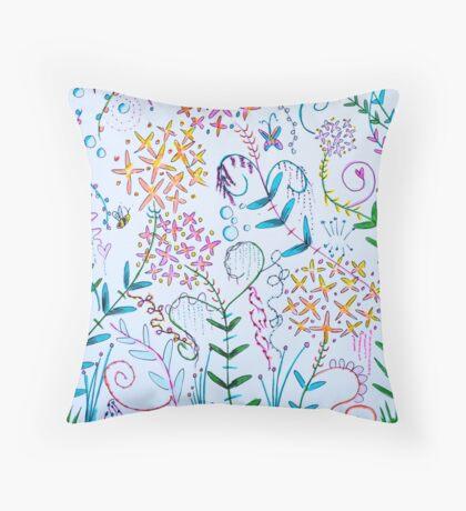 scribble garden party Throw Pillow