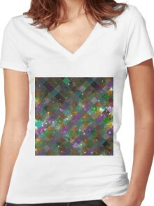 Diamonds In Space Women's Fitted V-Neck T-Shirt