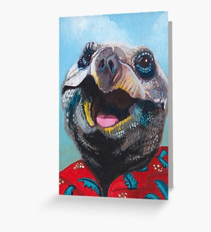 Turtle in a Hawaiian Shirt Greeting Card