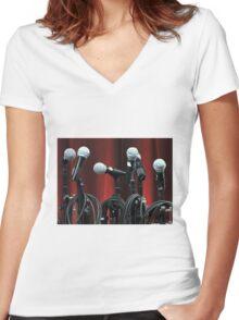 Ok, Tune Those Voices...memememememe......... Women's Fitted V-Neck T-Shirt
