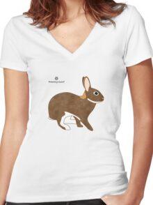Chestnut Agouti Rabbit Women's Fitted V-Neck T-Shirt