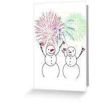 Snowmen Celebrate Independence Greeting Card