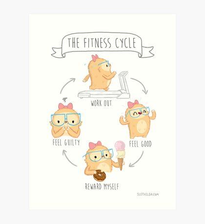 Slothilda Sloth - The Fitness Cycle Art Print