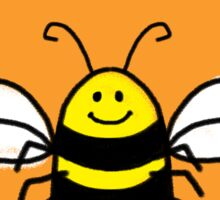Naked as a bee, cute bumble bee happy art Sticker