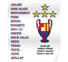 Barcelona 2011 Champions League Final Winners Poster
