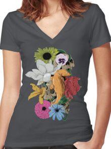 Lizards, Skulls & Flowers Women's Fitted V-Neck T-Shirt