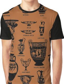 Ancient Greek Pottery Silhouette Graphic T-Shirt