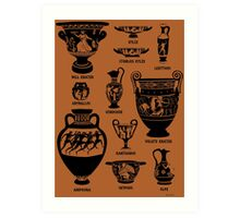 Ancient Greek Pottery Silhouette Art Print