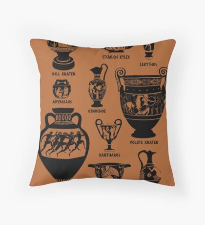 Ancient Greek Pottery Silhouette Throw Pillow